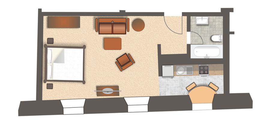Grundriss Wohnung 222 und Wohnung 444